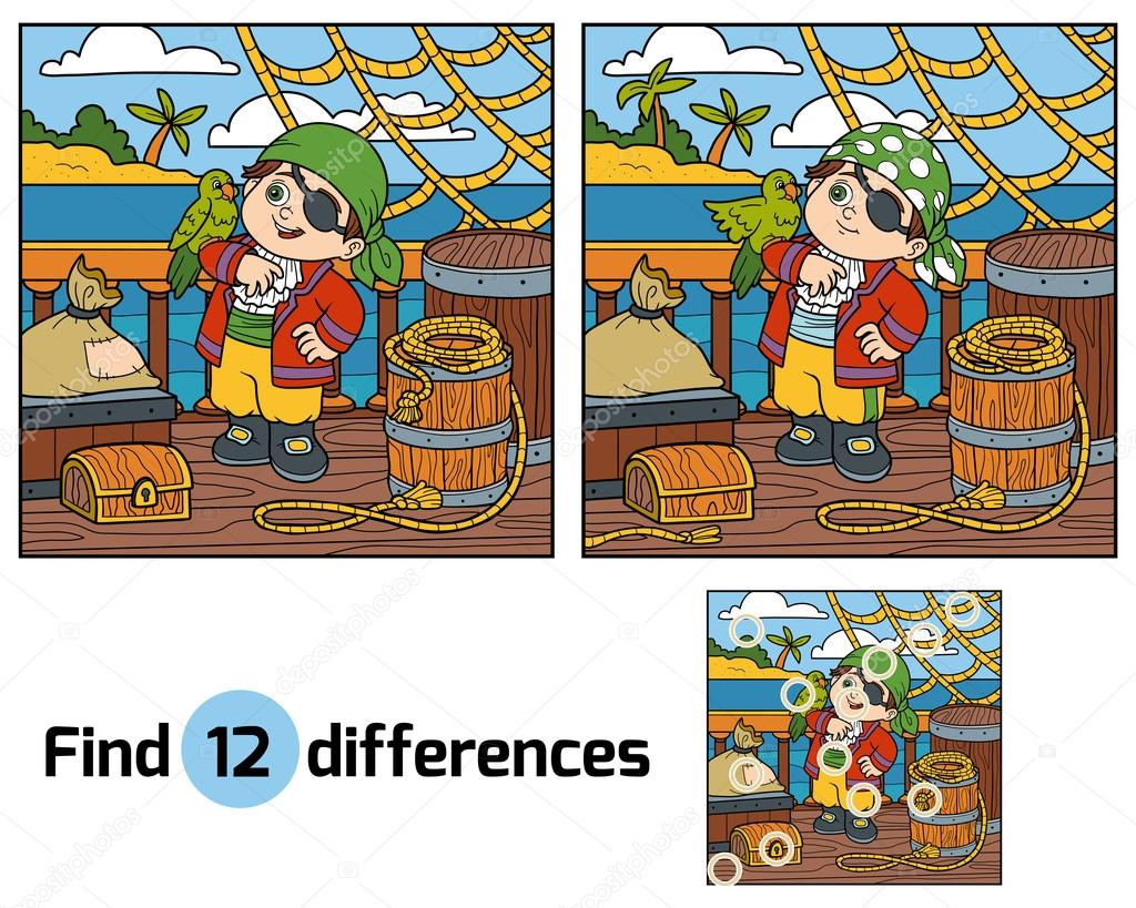 find differences for children pirate on the deck of a ship