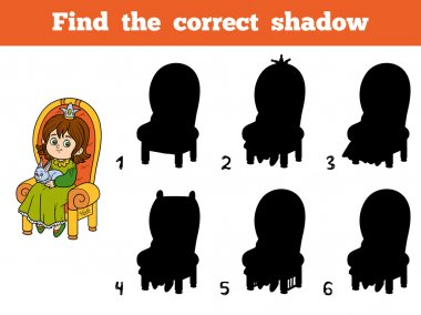 Find the correct shadow, princess seated on a throne