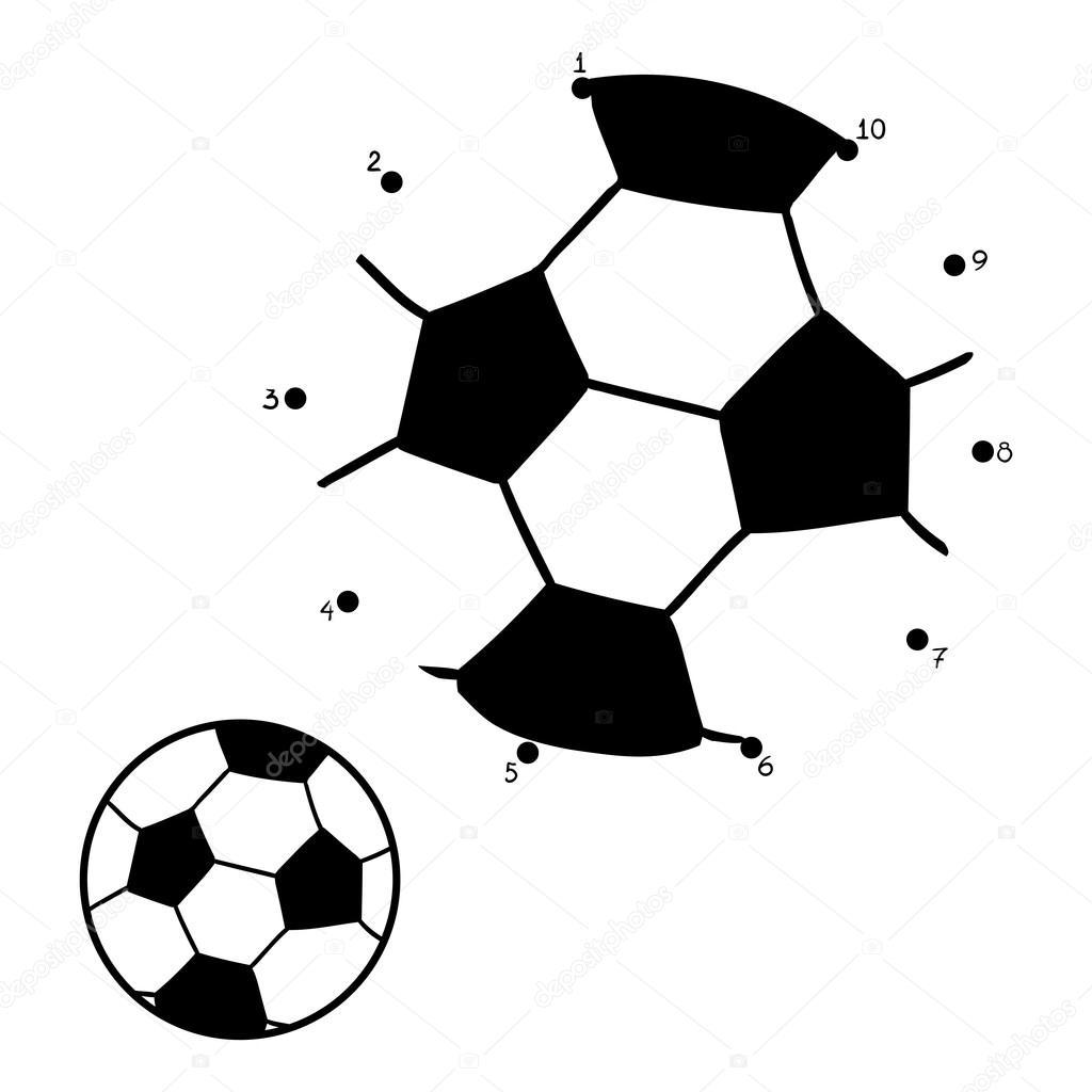 Niño Juega Futbol Para Colorear Juego De Números Para Niños