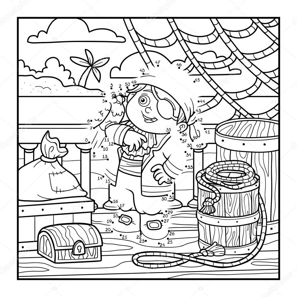 juego de nmeros para nios juego de educacin de punto a punto pirata y loro estn en la cubierta de un barco u vector de ksenyasavva