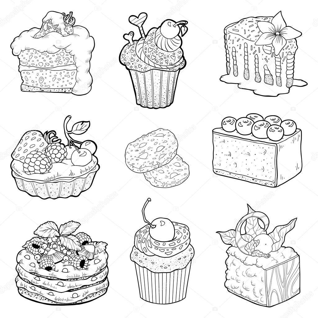 colección en blanco y negro de pasteles dulces pasteles