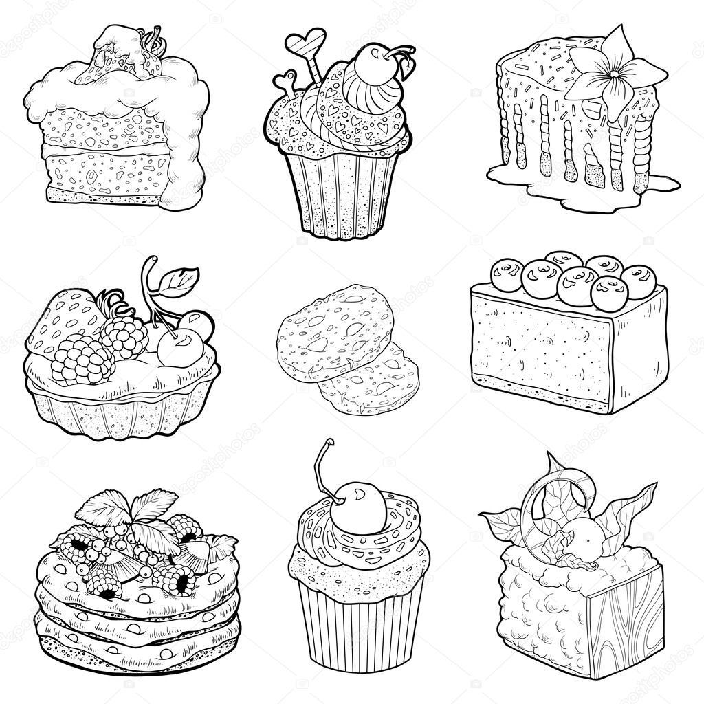 black and white collectie van zoet gebak taarten