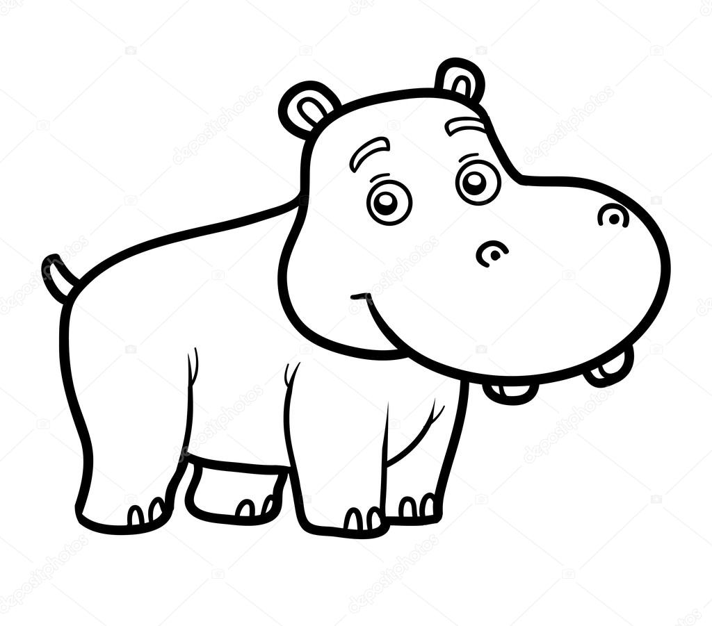 Animado Hipopotamo Caricatura Para Colorear Libro Para Chilren