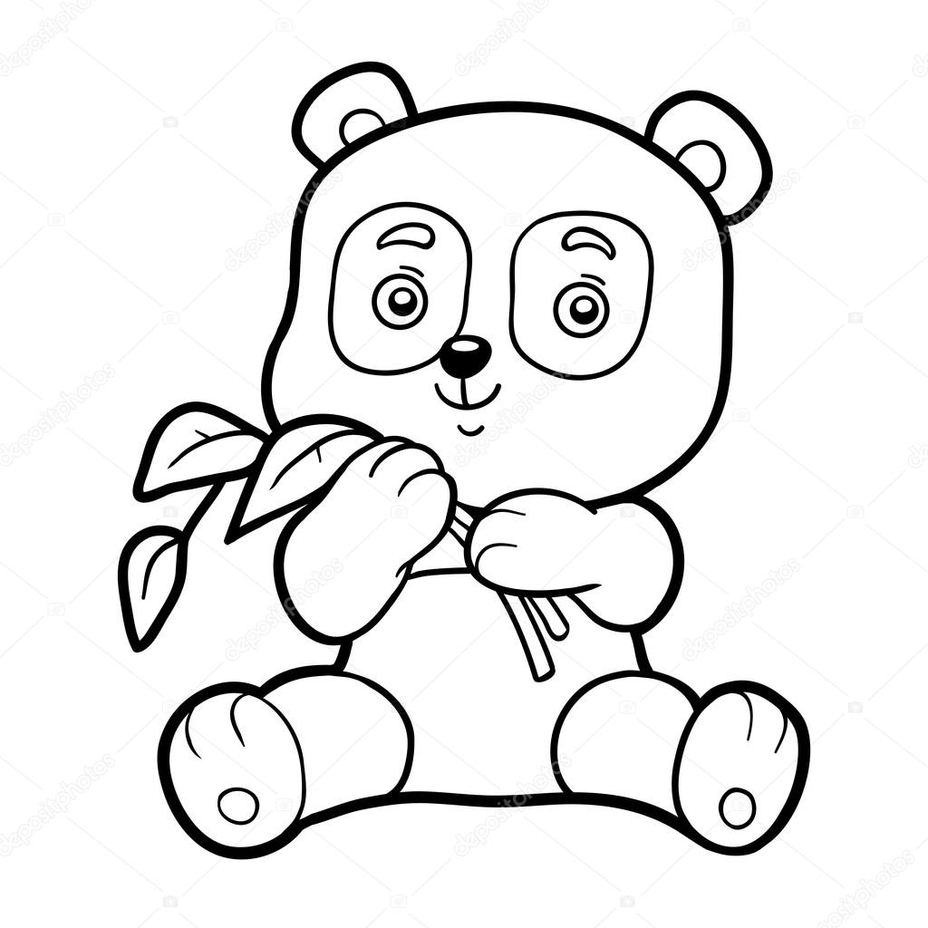 Coloring Book For Chilren Little Panda Stock Vector