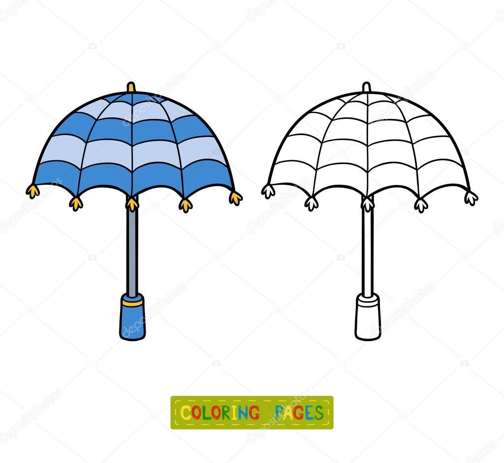 Libro para colorear para niños, paraguas — Vector de stock ...