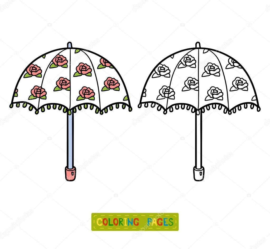 Libro para colorear para niños, paraguas — Archivo Imágenes ...