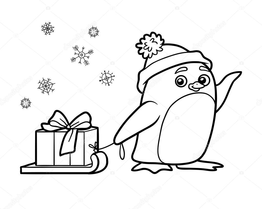Libro para colorear, pingüino con el regalo de Navidad — Vector de ...