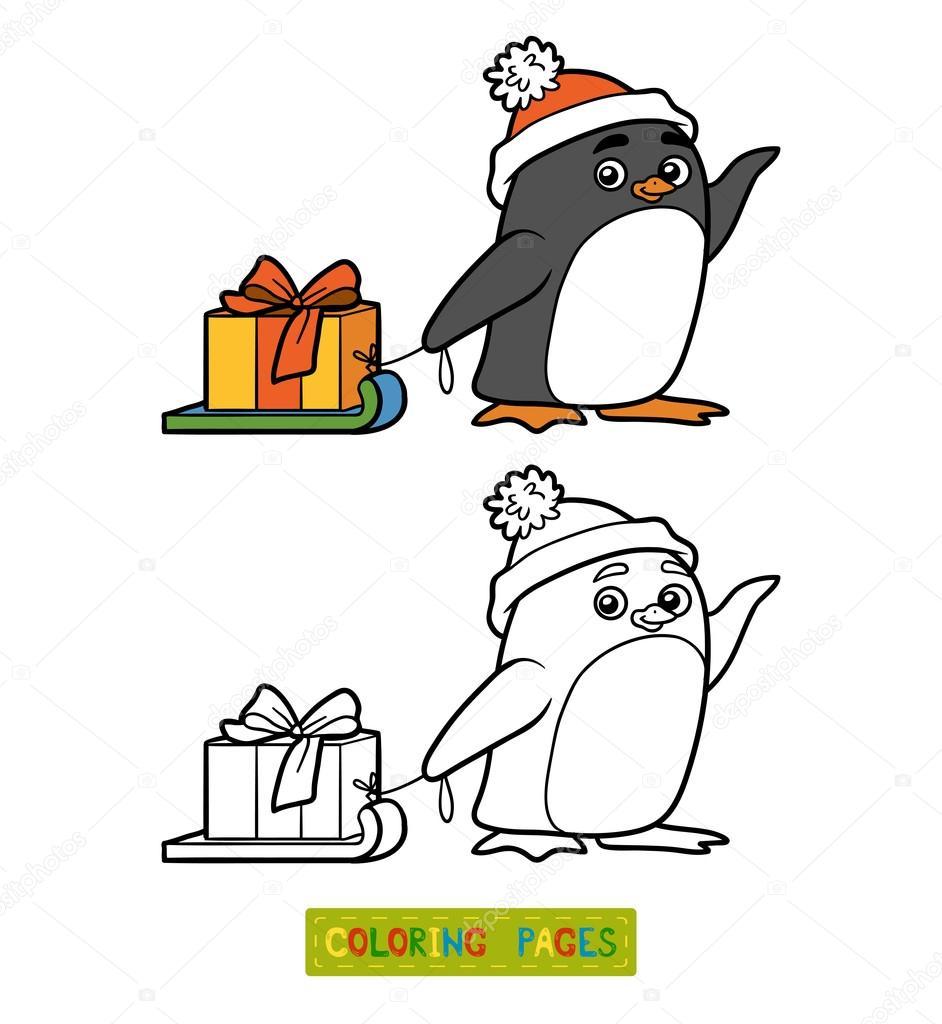 Boyama Kitabı Noel Hediyesi Olan Penguen Stok Vektör