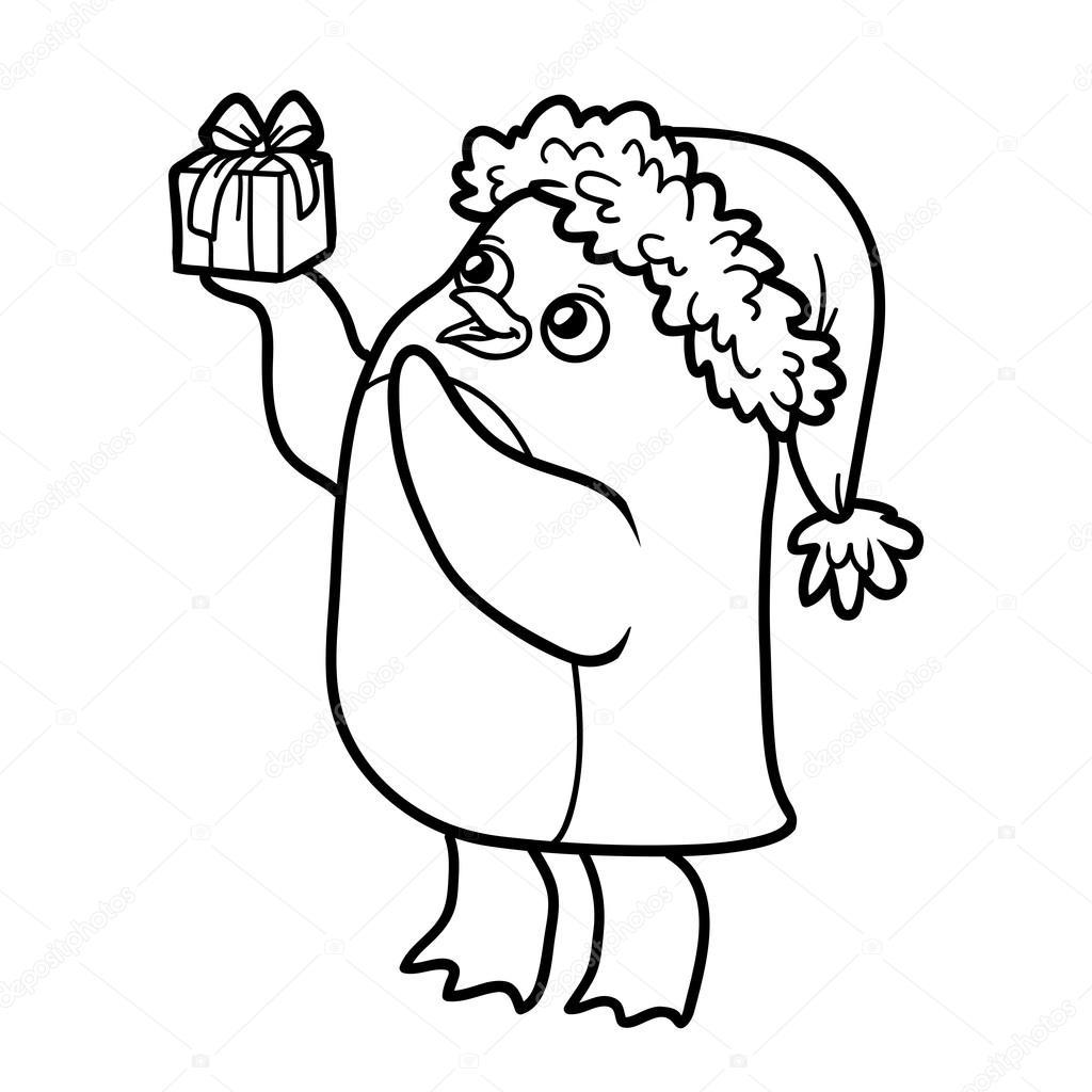塗り絵の本ペンギンのクリスマス プレゼントと ストックベクター