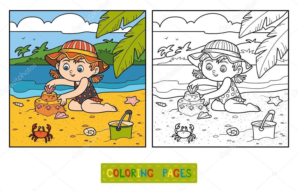 子供のための塗り絵女の子ビルド砂の城 ストックベクター