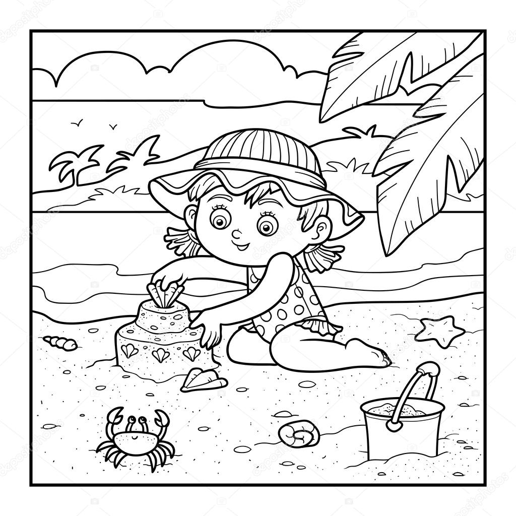Coloring book for girl - Coloring Book For Children Girl Builds A Sand Castle Stock Illustration