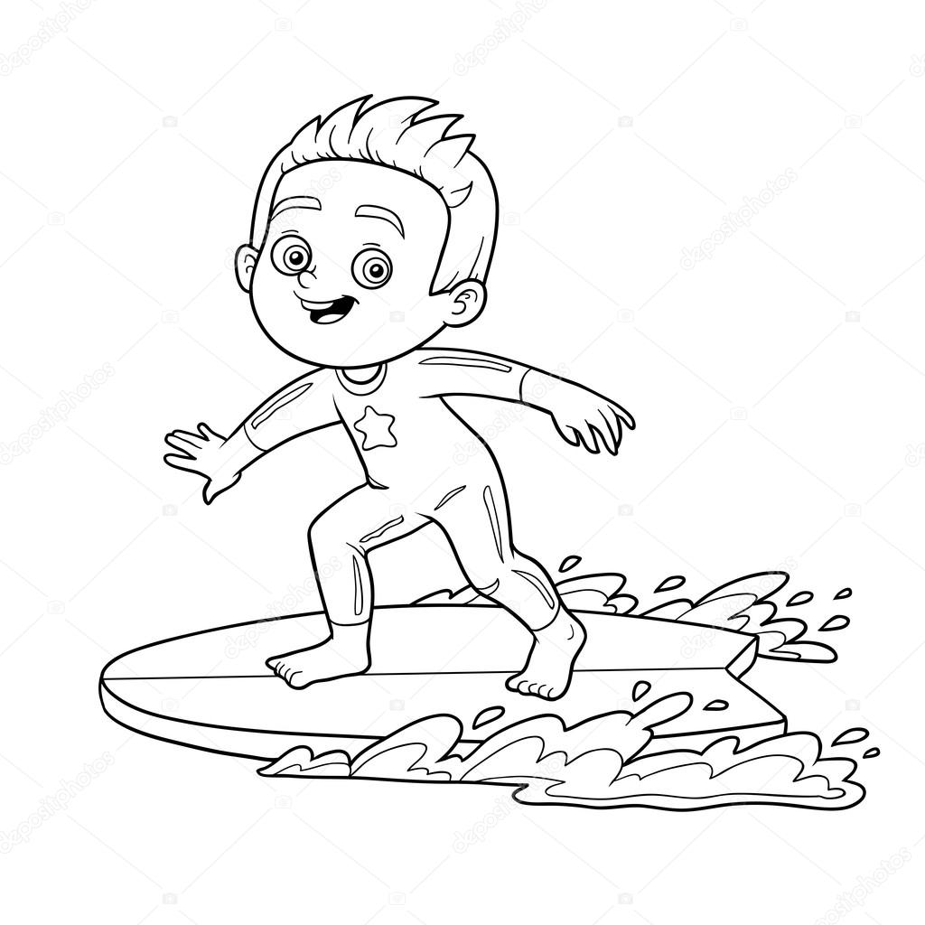 Libro de colorear. Un muchacho a una tabla de surf — Vector de stock ...