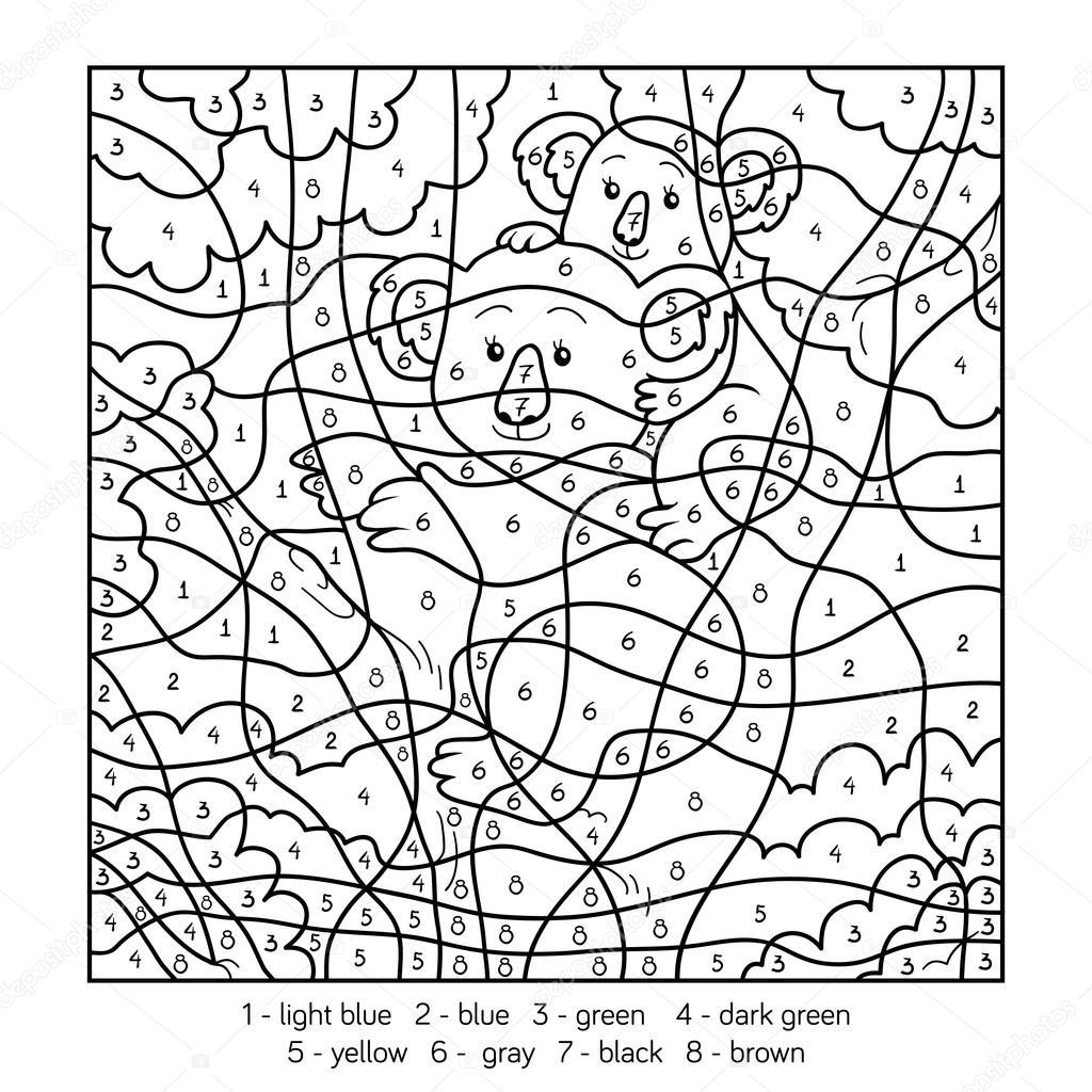 Kleuren Op Nummer Koala Stockvector 169 Ksenya Savva