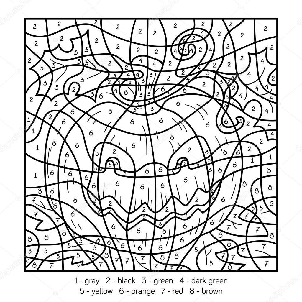 Color by number, Halloween pumpkin — Stock Vector © ksenya_savva ...