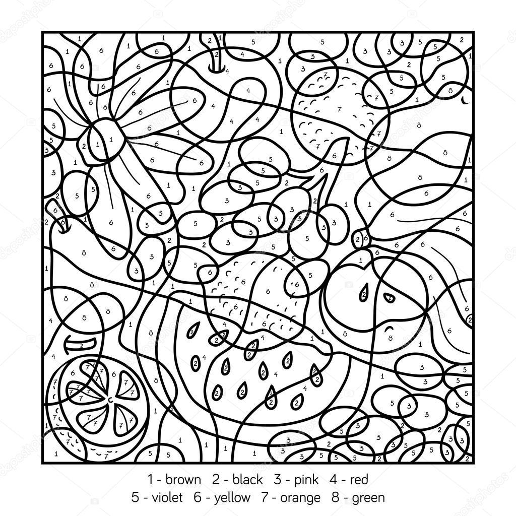 kleuren op nummer voor kinderen fruit stockvector