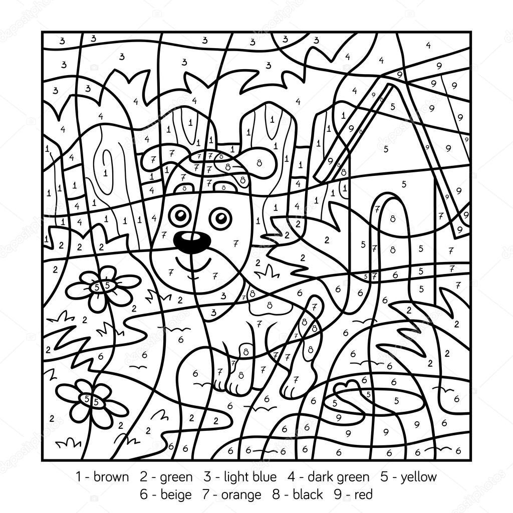 kleurplaten kleuren op nummer voor kinderen met een hond