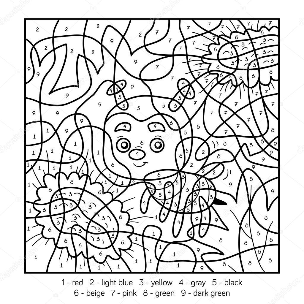 kleuren op nummer voor kinderen met een bee stockvector