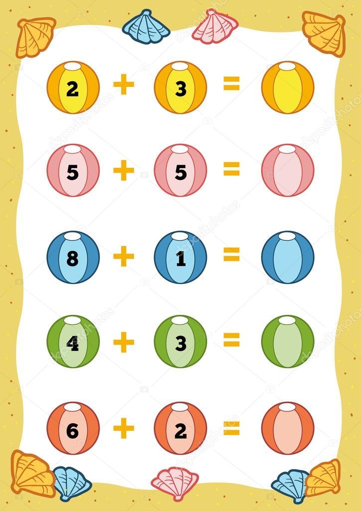 Lernspiel zählen für Kinder. Zusatz-Arbeitsblätter — Stockvektor ...
