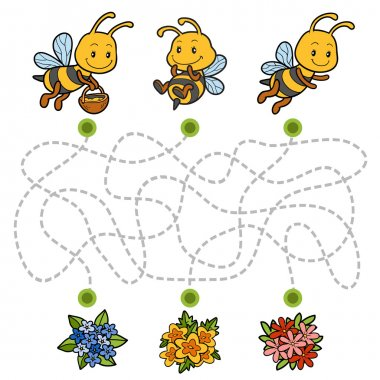 Maze game, education game for children about bees