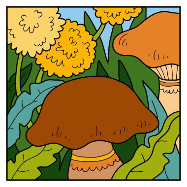 Vector color background, meadow with mushrooms