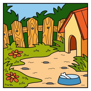 Vector color background, backyard and doghouse