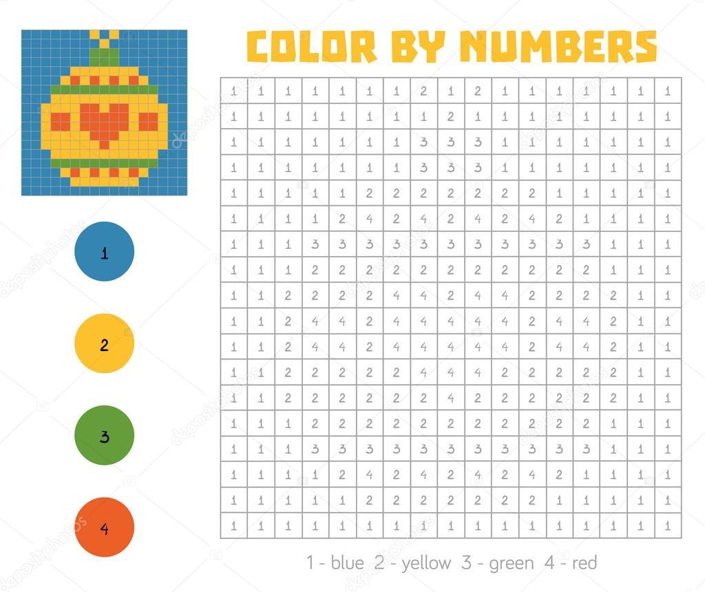 Farbe nach Anzahl mit nummerierten Plätzen, Christbaumkugel ...