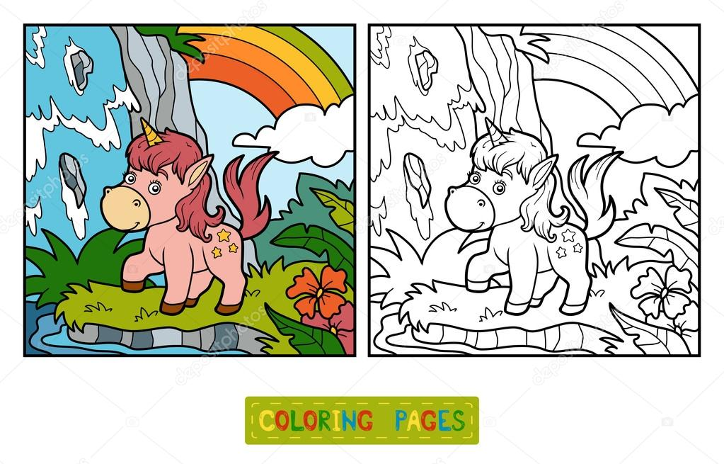 Libro para colorear, hadas unicornio y arco iris — Archivo Imágenes ...