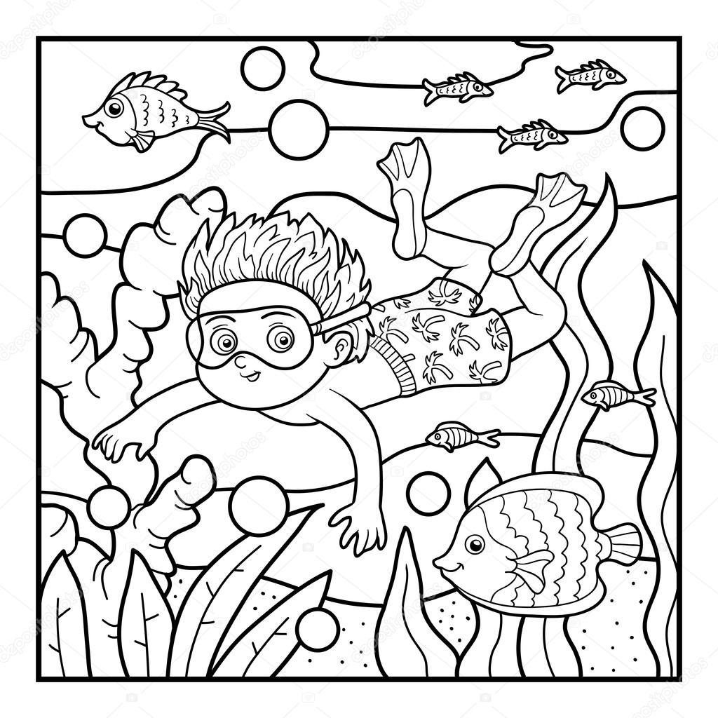 Libro para colorear, niño nadando en el mar — Vector de stock ...