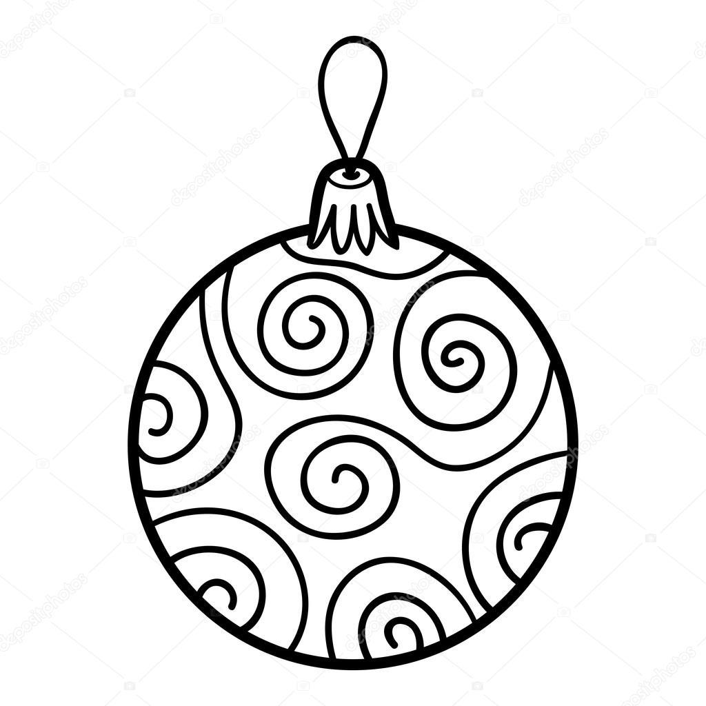 Colorear libro, juguete del árbol de Navidad, bolas — Vector de ...
