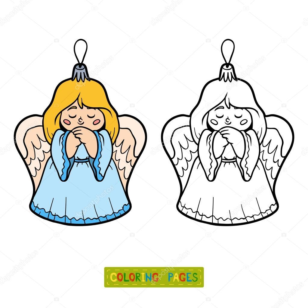 Colorear libro, juguete del árbol de Navidad, angel — Vector de ...