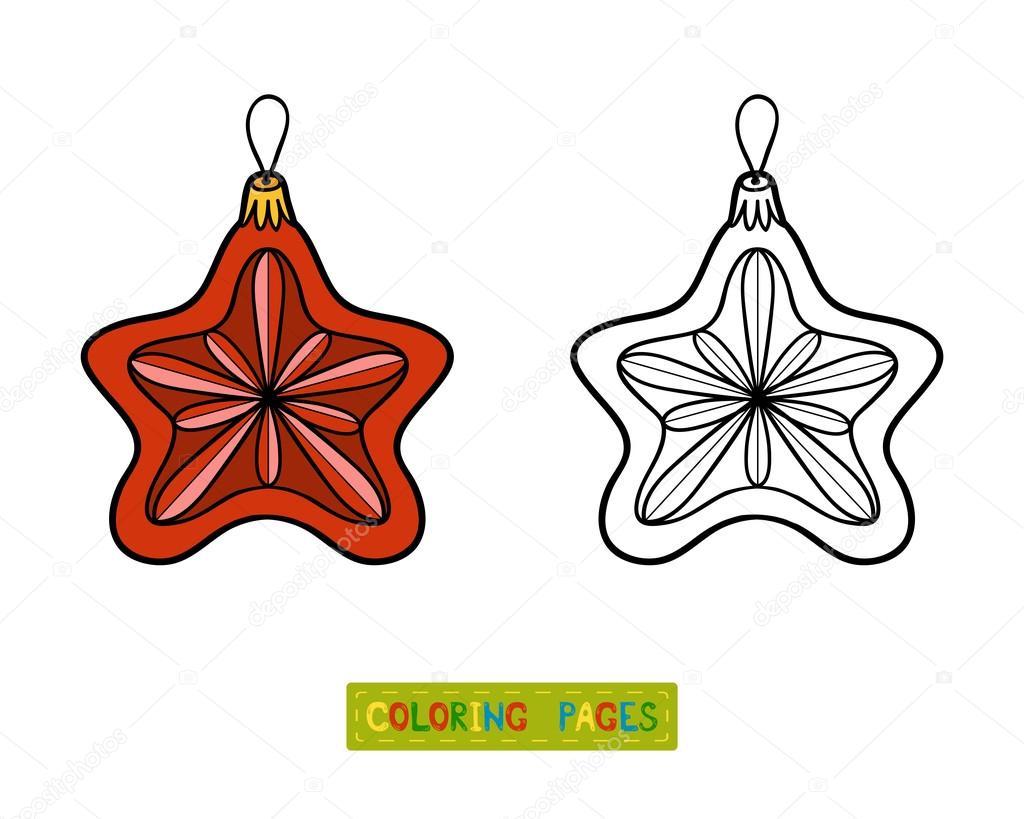 Malbuch, Weihnachtsbaum Spielzeug, Sterne — Stockvektor ...