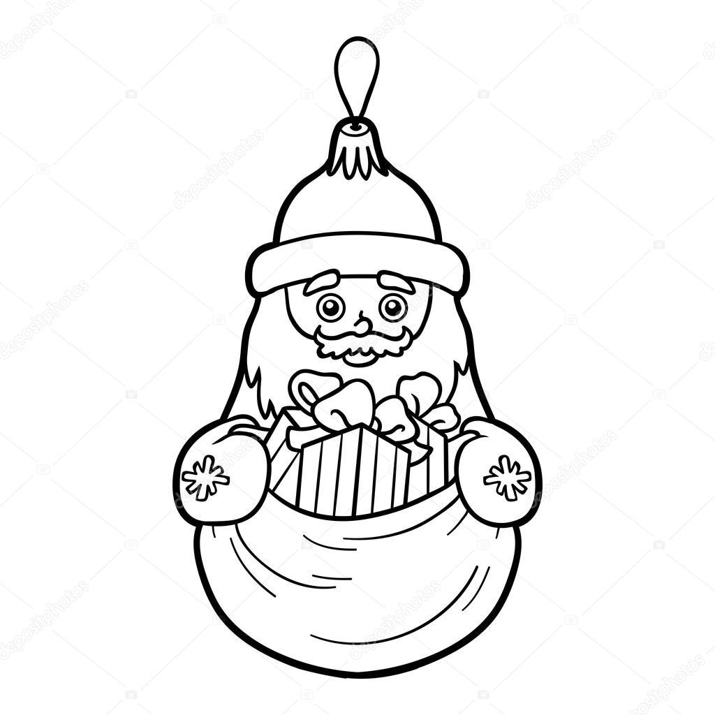 coloring book for children christmas tree toy santa claus vector by ksenya_savva - Coloring Book Santa