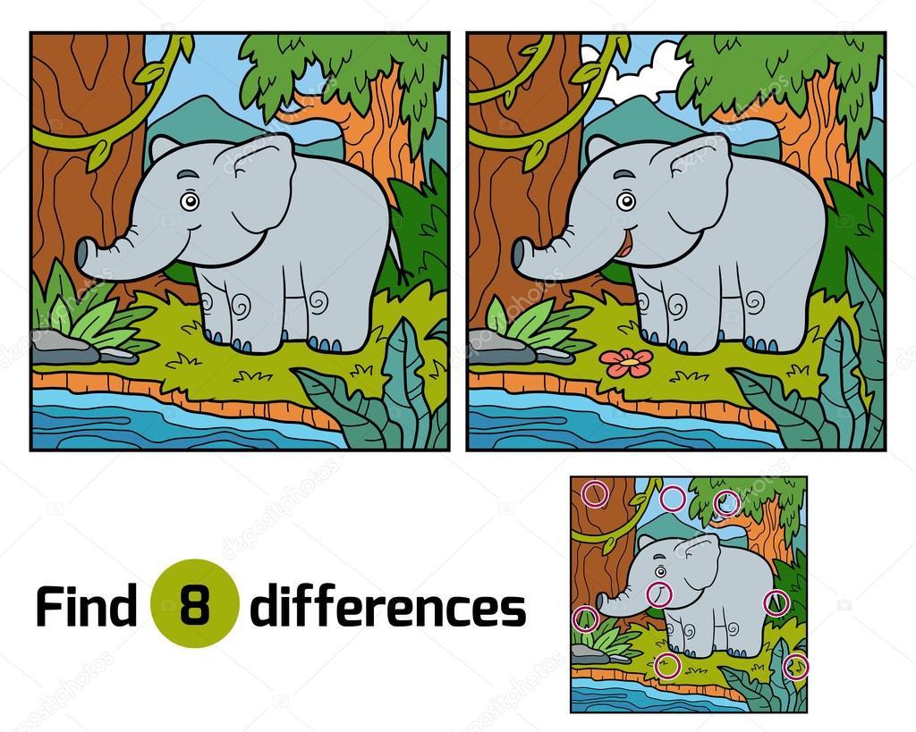 Finden Sie Unterschiede für Kinder, Elefant und Hintergrund ...