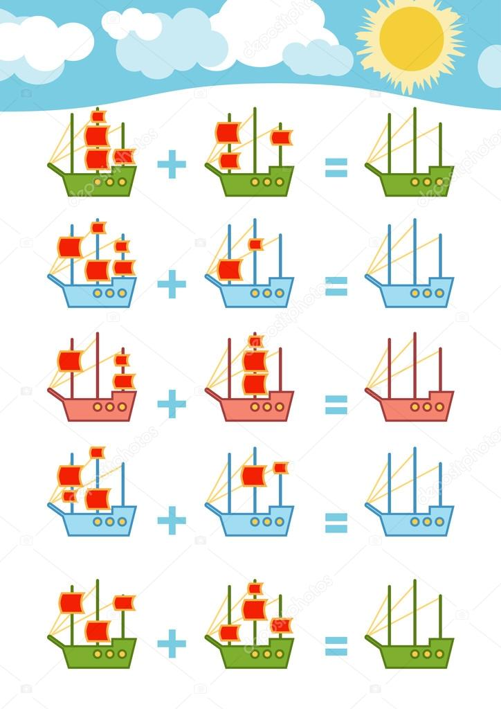 counting game addition worksheets  stock vector  ksenyasavva  educational a mathematical game count the numbers in the picture and write  the result addition worksheets  vector by ksenyasavva