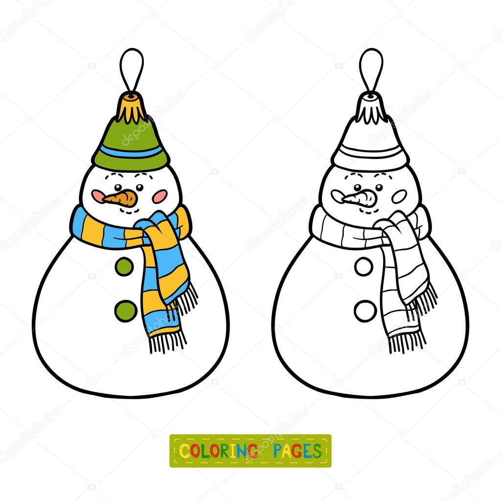 Coloring book, Christmas tree toy, snowman — Stock Vector ...