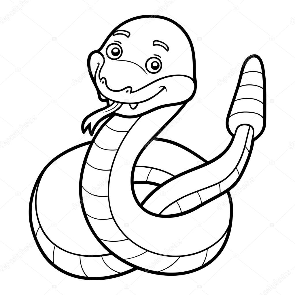 Libro de colorear, serpiente de cascabel — Vector de stock ...