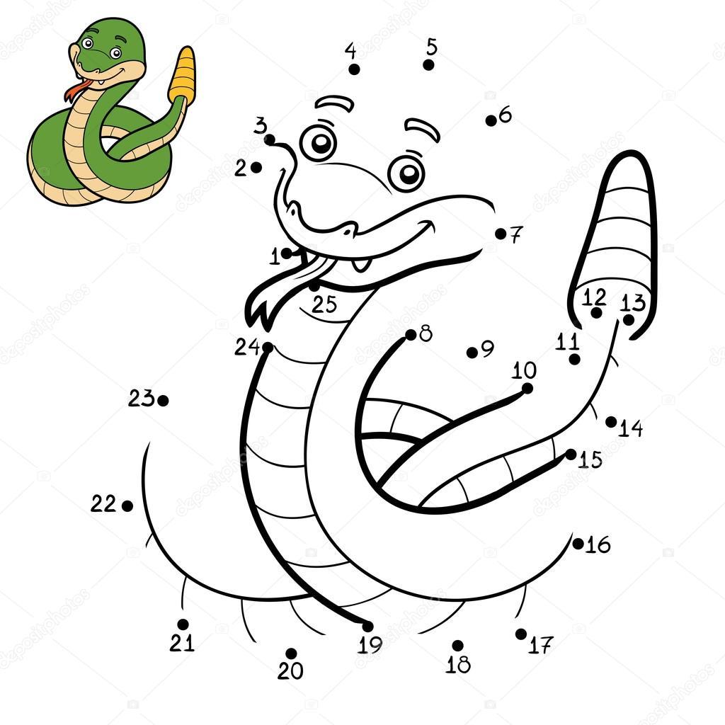Juego de números, serpiente de cascabel — Archivo Imágenes ...