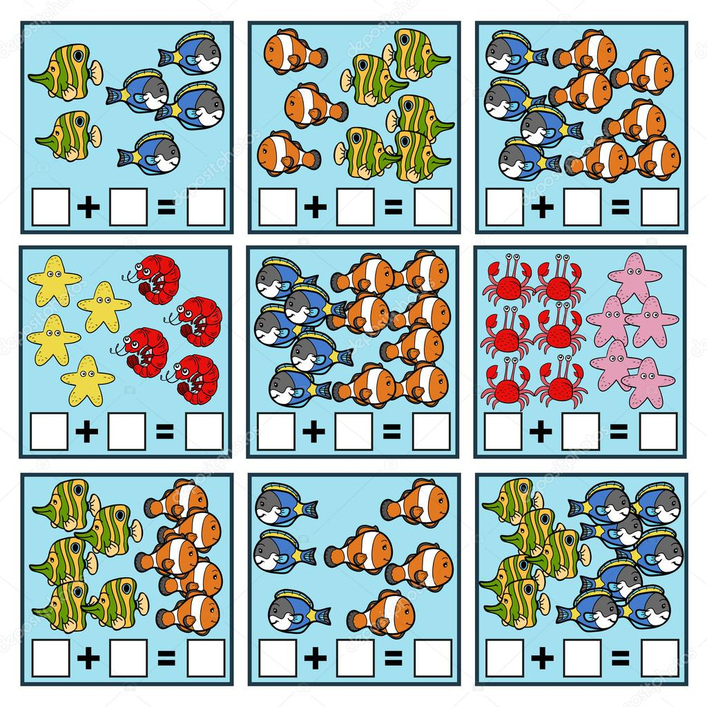 Counting Game. Addition worksheets — Stock Vector © ksenya_savva ...