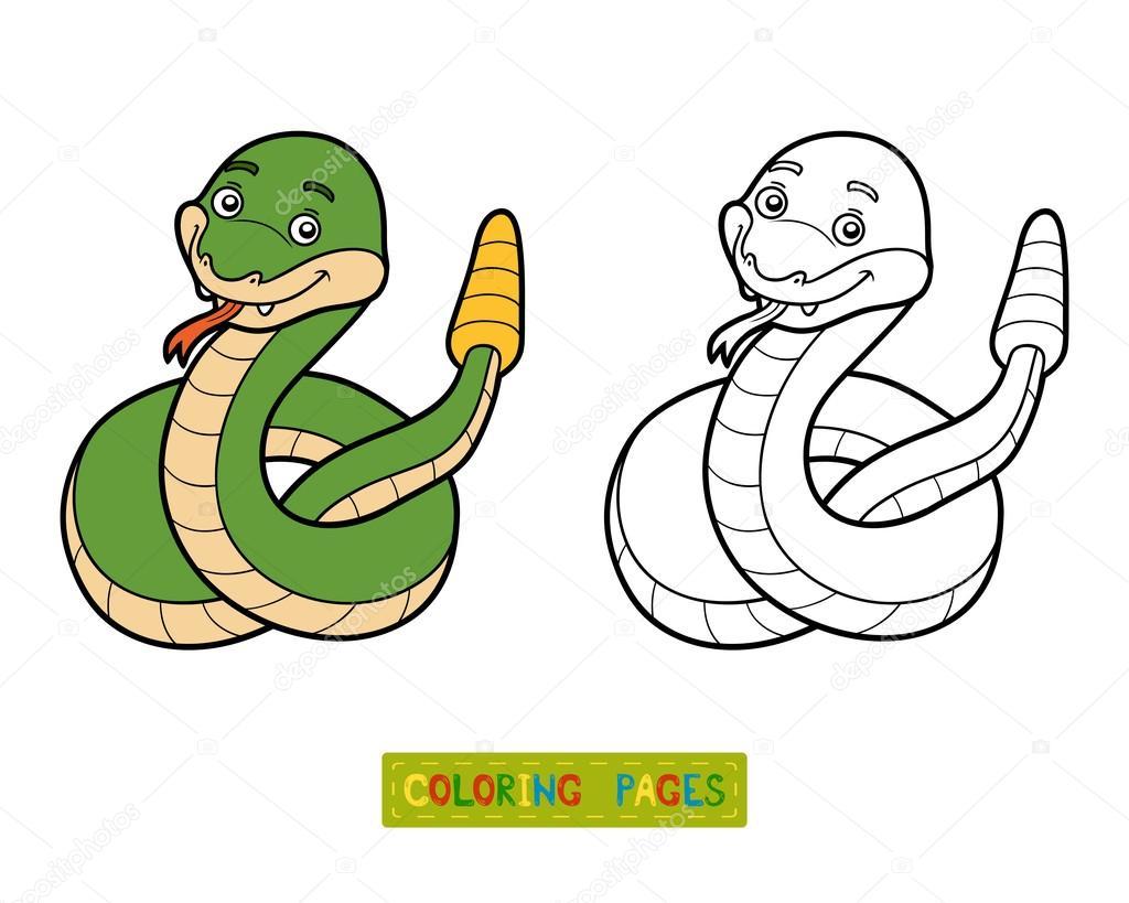 Libro de colorear, serpiente de cascabel — Vector de stock ...