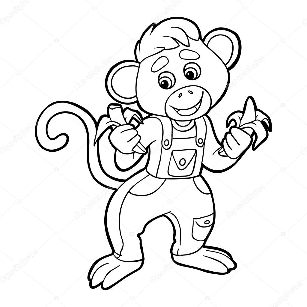 Coloring book (monkey) — Stock Vector © ksenya_savva #52011899