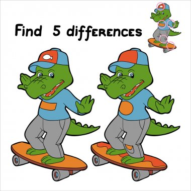Find 5 differences (crocodile)