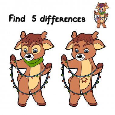 Find 5 differences (deer and garland)