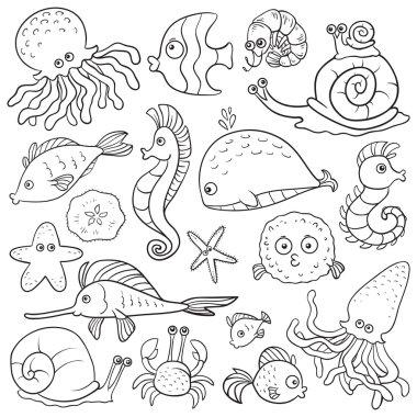 Set of vector elements (sea life)
