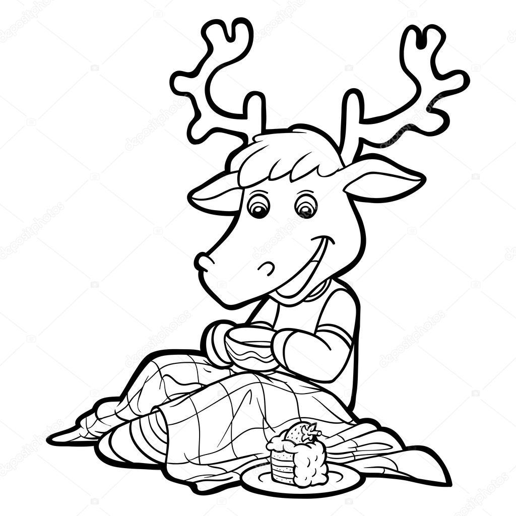Книжка-раскраска (олень) — Векторное изображение © ksenya ...