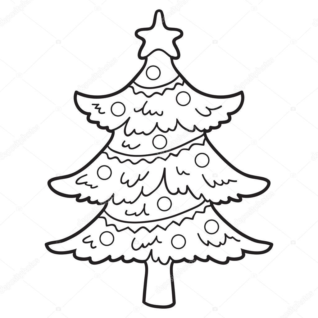 Книжка-раскраска (рождественская елка) — Векторное ...