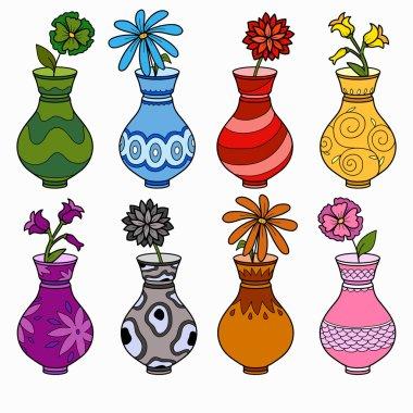 """Картина, постер, плакат, фотообои """"векторный набор ваз, изучение цветов для детей """", артикул 61089485"""