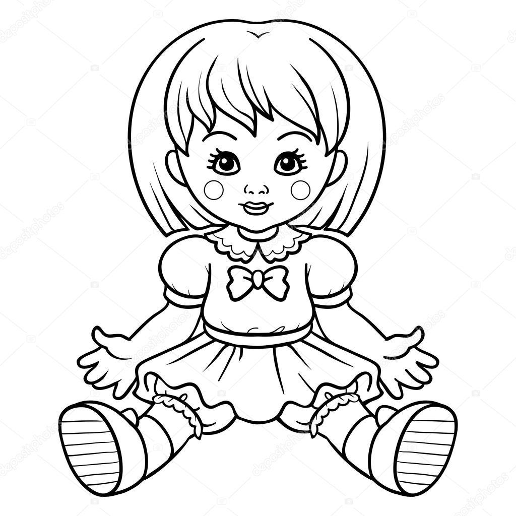 coloring book doll u2014 stock vector ksenya savva 61088843