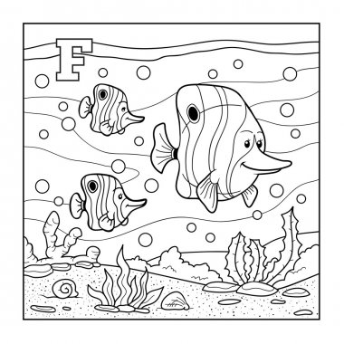 Coloring book (fish), colorless alphabet for children: letter F