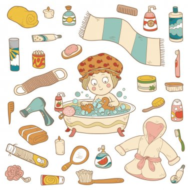 Set of vector cartoon bathroom elements and personal hygiene ite