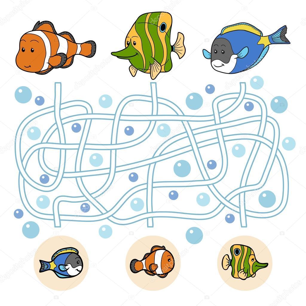 Игра лабиринта: семейство рыбы — Векторное изображение ...